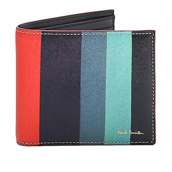 Paul Smith Striped Saffiano Leather Billfold Wallet