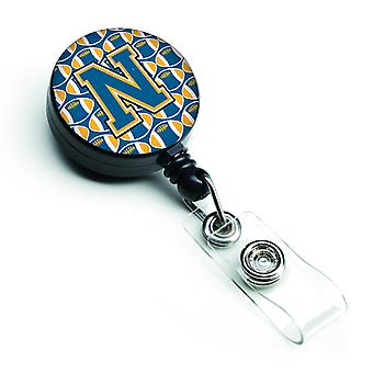 Letter N Football Blue and Gold Retractable Badge Reel