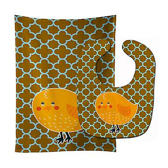 Carolines Treasures  BB6761STBU Bird on Quatrfoil Baby Bib & Burp Cloth