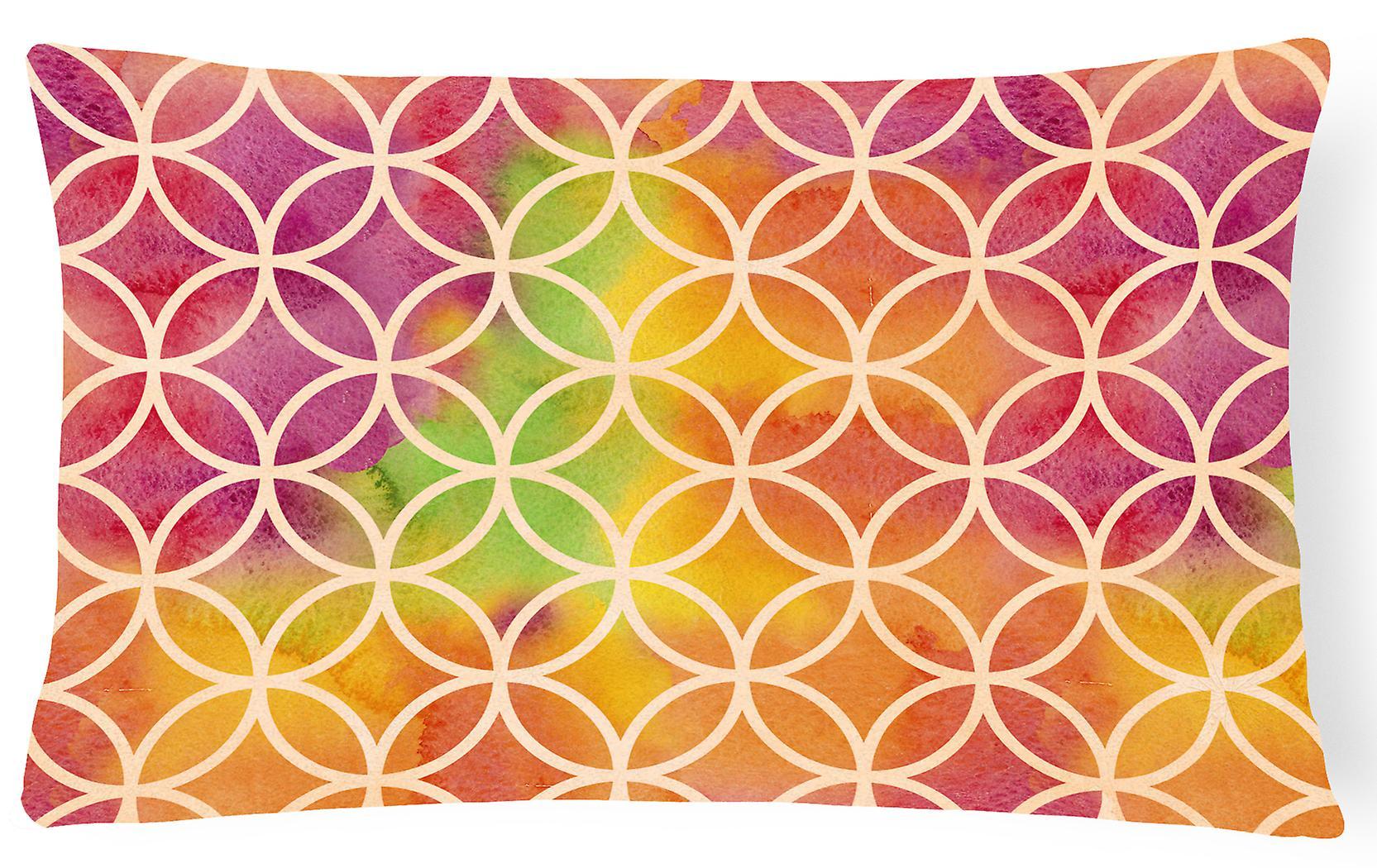 Decorative Watercolor Rainbow Canvas Fabric Geometric Circles Pillow 9H2EID
