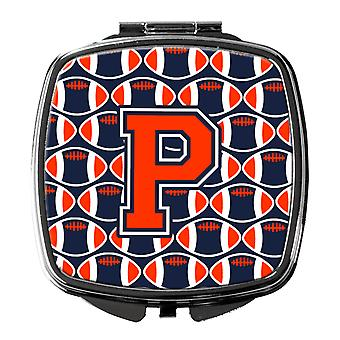 Letter P Football Orange, Blue and white Compact Mirror