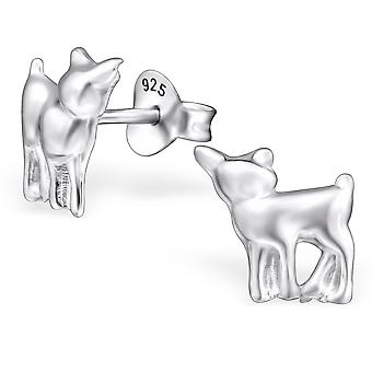 Deer - 925 Sterling Silver Plain Ear Studs