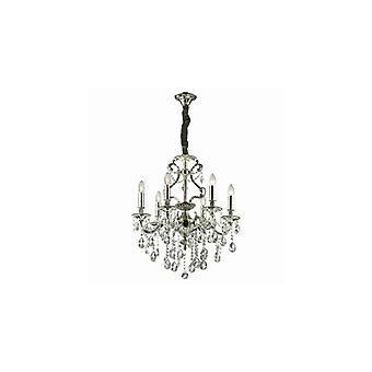 Gioconda Antique Silver Finish Six Light Chandelier With Crystals - Ideal Lux 44927