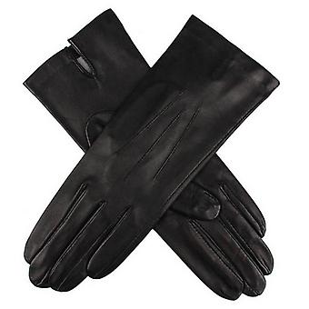 Dents Felicity Silk Lined Plain Hairsheep Leather Gloves - Black