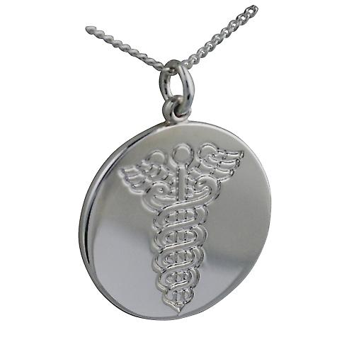 Silver 25mm round medical alarm Disc with a curb Chain 20 inches