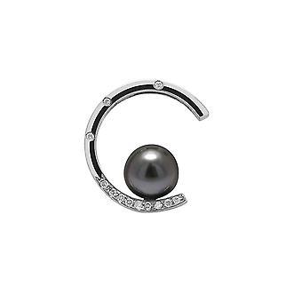 Tahiti-Perle, Diamant-Anhänger und Silber 925/1000