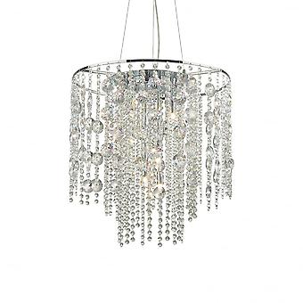 Ideal Lux Evasione Elegant Chrome And Crystal Diamante Ceiling Pendant Light