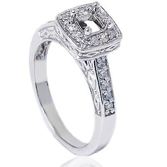 1 / 4ct Vintage Semi Mount Verlobungsring 14K White Gold