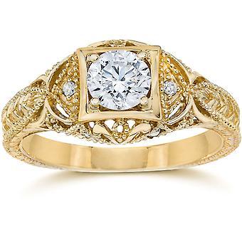 Emery 5/8Ct Vintage Genuine Diamond Engagement 14K Yellow Gold