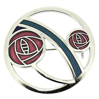 Brooches Store Round Red Enamel & Silver Mackintosh Rose & Coils Brooch