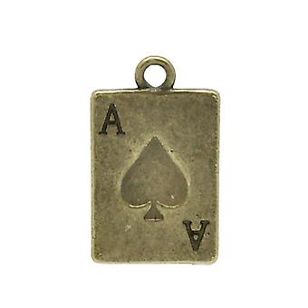 Packet 10 x Steampunk Bronze Tibetan 21mm Playing Cards Charm/Pendant ZX04160