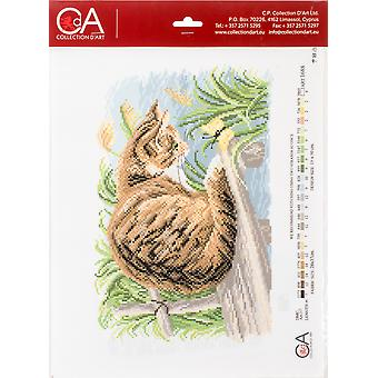 Collection D'art Stamped Cross Stitch Kit 28X37cm-Cat With Butterfly