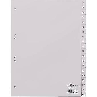 Durable Index 6510 A4 A-Z Polypropylene Grey 20 dividers embossed tabs 651010