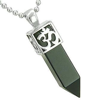 Positive Energie alten OM Amulett Magic Mächte Crystal Point Lucky Charm Onyx Anhänger Halskette