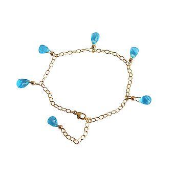 Gemshine - Panie - bransoletka - złoty kwarcowy - krople - Topaz - szlifowane - niebieski - rozmiar regulowany