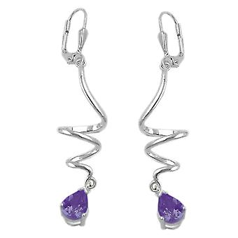 Silver earrings spiral with Amethyst purple Brisur 925 sterling silver