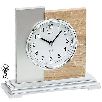 AMS 5151 tabellen klokkeradio sølv moderne tre Sonoma optikk med aluminium støtte