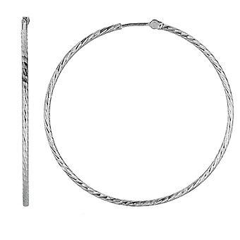 Sterling Silver Rhodium Plated  Round Hoop Earrings
