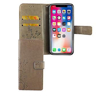 Apple iPhone XS Handy-Hülle Schutz-Tasche Cover Flip-Case Kartenfach Grau