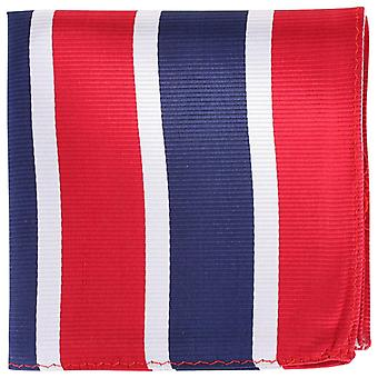 Knightsbridge Neckwear Striped Silk Pocket Square - Red/Silver/Navy