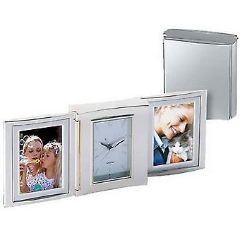 Orton West Double Photo Frame Alarm Clock - Silver