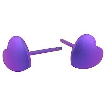 Ti2 Titanium Geometric Heart Stud Earrings - Imperial Purple