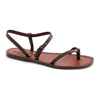 Dark brown flat thong sandals for women