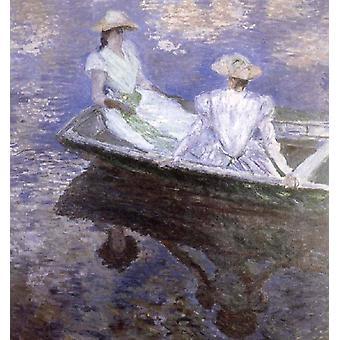 Unge piger i en båd, Claude Monet, 50x50cm
