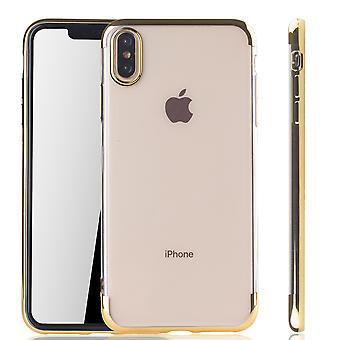 Matkapuhelin tapauksessa Apple iPhone XS Max Gold - selvää - TPU silikoni tapauksessa takakansi suojakotelo, läpinäkyvä / kiiltävä reuna kultaa
