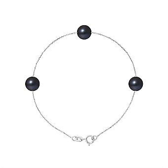 Bracelet woman 3 pearls of freshwater black AA and white gold 750/1000