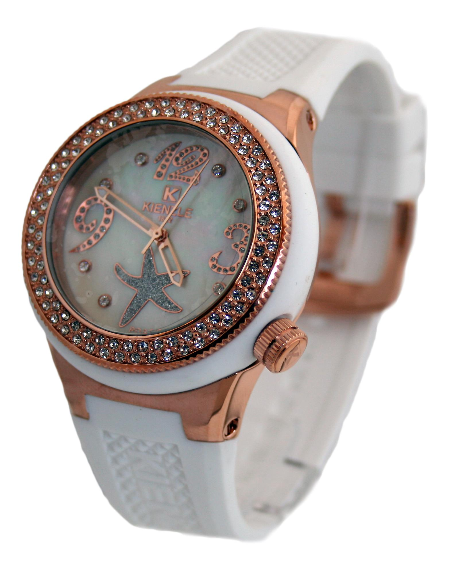 Waooh - Watch Kienzle 720 3061 for Women - White Silicone Bracelet - White Dial - Box color and white metal copper - copper bezel with rhinestones