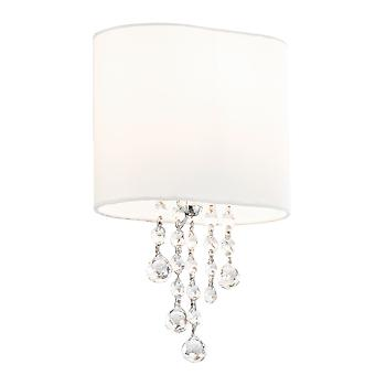 Searchlight 1051-1CC Nina 1 Light Wall Lamp Glass And  Fabric Shade