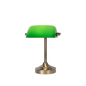 Lucide Banker Classic Metal Bronze And Green Desk Lamp