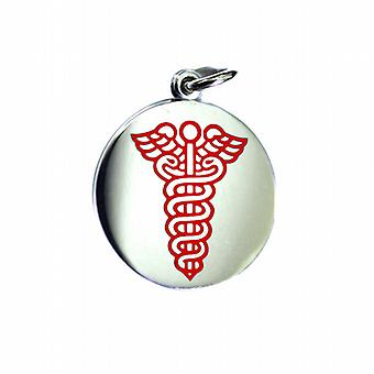 Silver 25mm round medical alarm Disc with red vitreous enamel