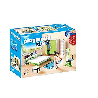 Playmobil 9271 by livet soverom med arbeider lys