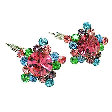 Multi Colored Swarovski Crystals Flower Petal Stud Pierced Earrings
