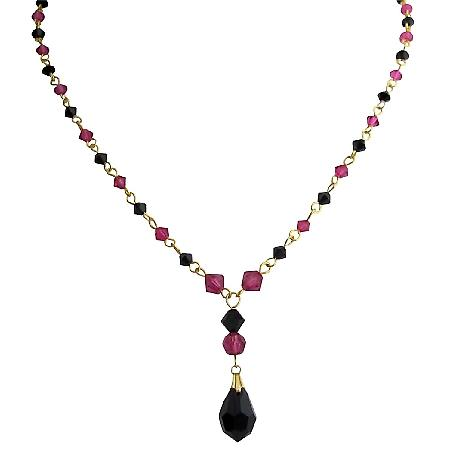 Gold Tone Necklace with Fuchsia Black Crystal Combo Necklace