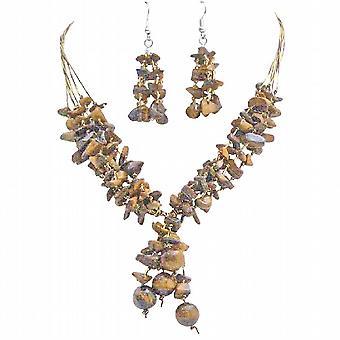 Rejuvenate Jewelry Tiger Eye Stones Interwoven In 5 Stranded Drop Down
