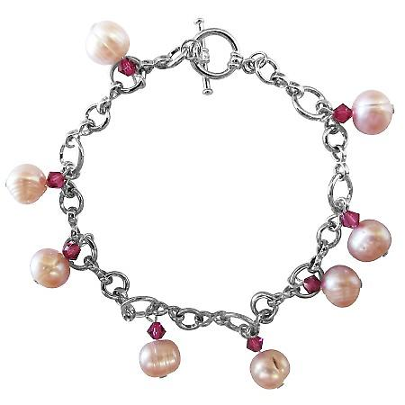 Gorgeous Fresh water Rosaline Pearls & Swarovski Crystals