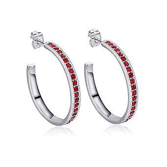 Ornate ears small Creole earrings crystal of Swarovski Rouge