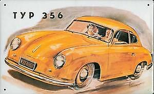 Porsche 356 (yellow) embossed steel sign