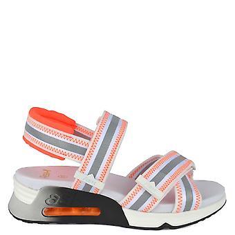 Ash Footwear Lewis White Leather & Orange Trainer Sandal