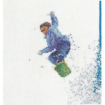 Snowboarder On Linen Counted Cross Stitch Kit-6.25