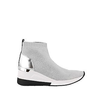 Michael Kors Silver Fabric Hi Top Sneakers