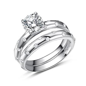 925 Sterling Silver Galaxy Style Engagement Matching Band Ring Set