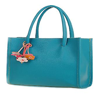 Designer large elongated womens faux leather tote shoulder grab handbag