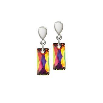 Eeuwige collectie Lyra vulkaan Baguette Crystal Silver Tone Drop Clip op oorbellen