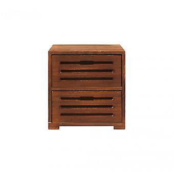 Möbler Rebecca Comodino Cassetti 2 lådor brunt trä Shabby36x35x24