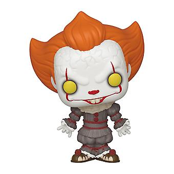 Stephen Kings's Pop! Vinyl figurine Pennywise w/ Open arms made of plastic, by Funko, in gift box.