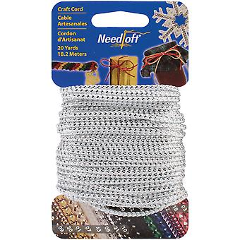 Needloft Novelty Craft Cord 20 Yards Metallic White & Silver 550 55008